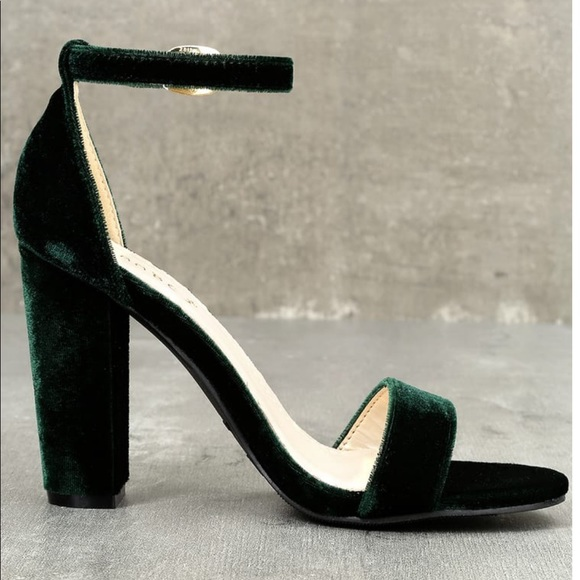 751fb6393b6 Lulu s Shoes - SOMETHING SWEET GREEN VELVET ANKLE STRAP HEELS